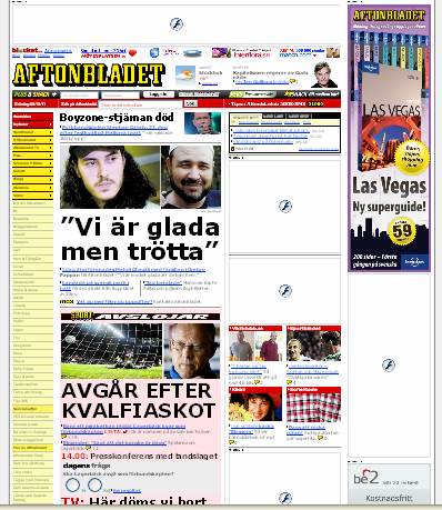 Front page of http://www.aftonbladet.se with Flashblock enabled.